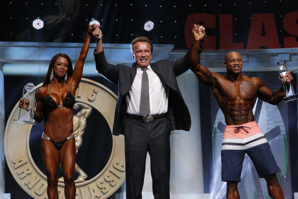 Bikini International winner India Paulino and Arnold Men's Physique winner Brandon Hendrickson