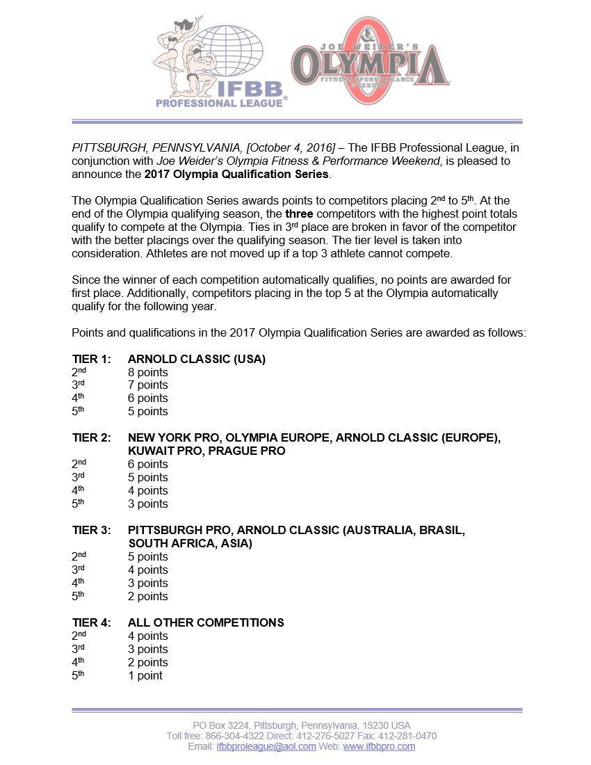 Ifbb Pro Advisory Notice  Olympia Qualification Series