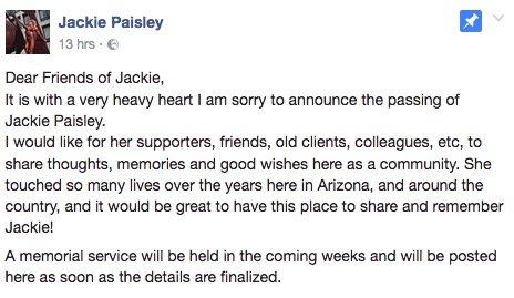 Women's IFBB Pro Jackie Paisley dies