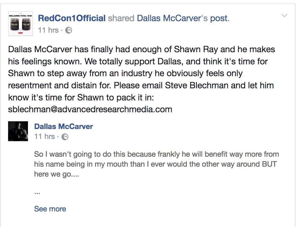 Redcon1 wants Shawn Ray fired