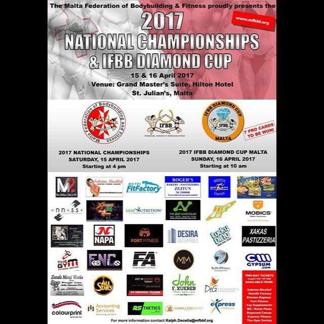 IFBB DIAMOND CUP MALTA 15-16 APRIL, 2017 - Running Order Events
