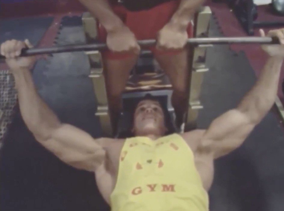 Looking Back: Arnold Schwarzenegger training Chest - Shoulders compilation