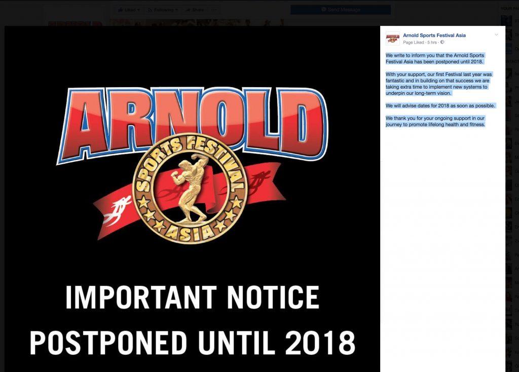 Breaking News: 2017 Arnold Sports Festival postponed