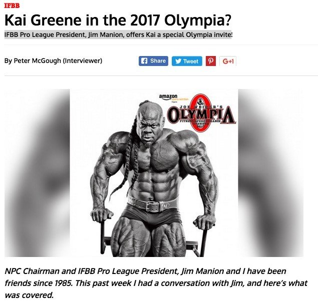 Kai Greene 2017 Olympia Invite