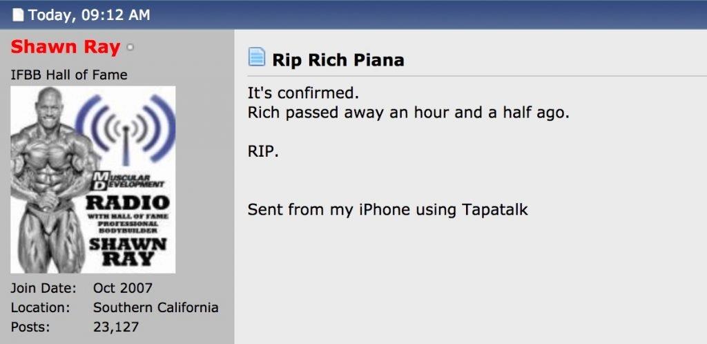 Rich Piana passed away