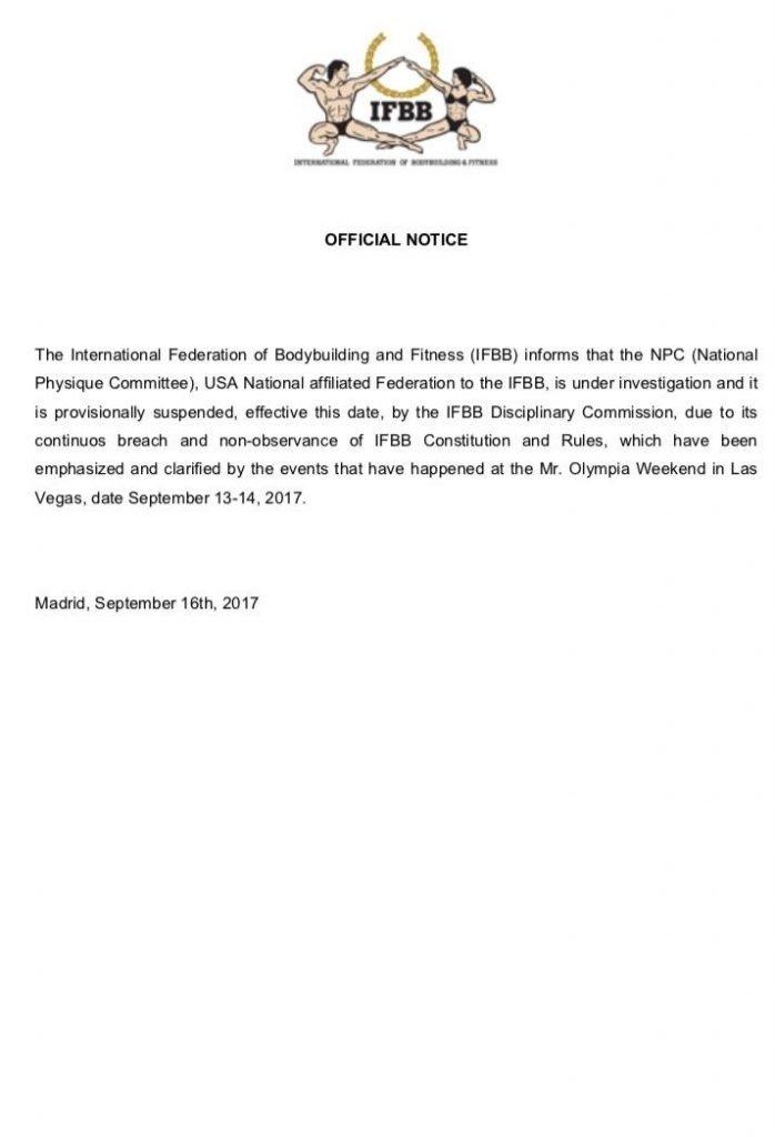 BREAKING NEWS: IFBB suspends NPC