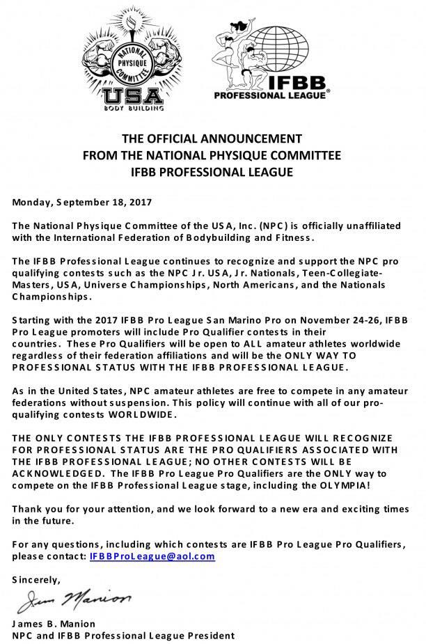 IFBB Pro League, IFBB Amateur split