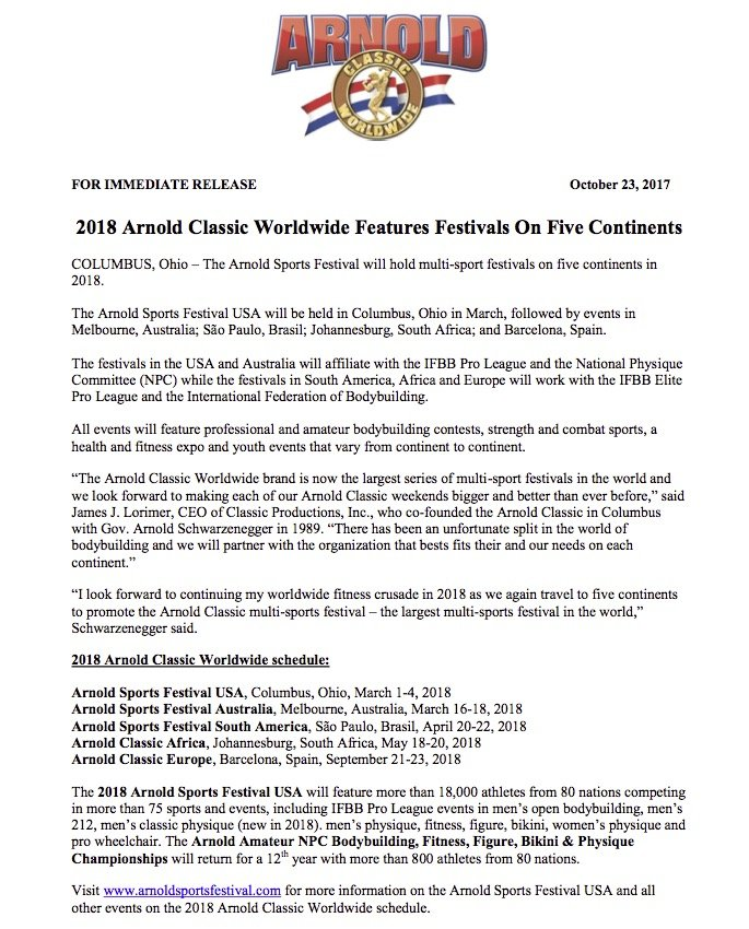 Arnold Classic Worldwide - Official press release