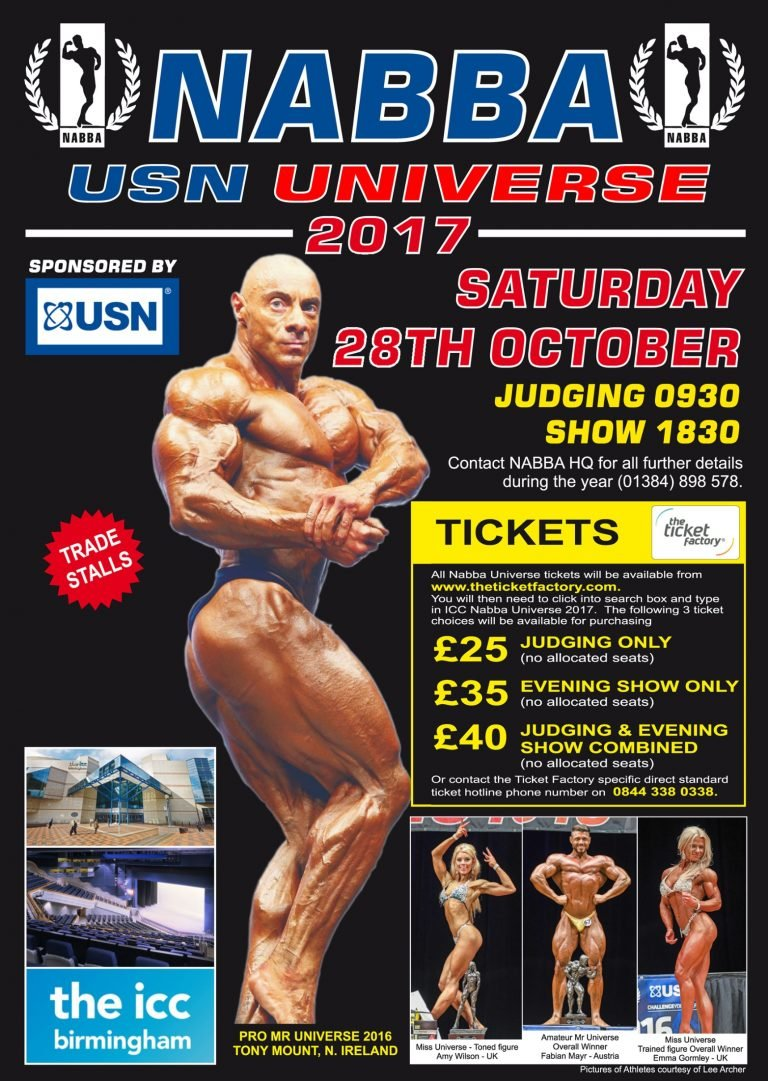 2017 NABBA Universe running order of events and contest info