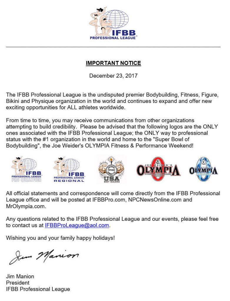 IFBB Pro League published