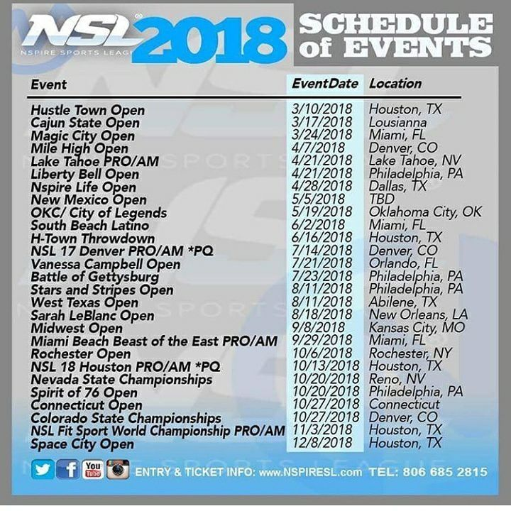 2018 Nspire Sports League competition schedule