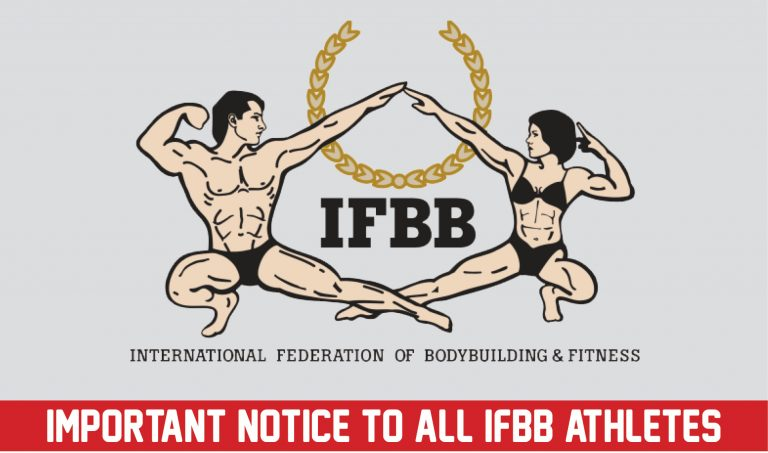 Important notice to all IFBB athletes