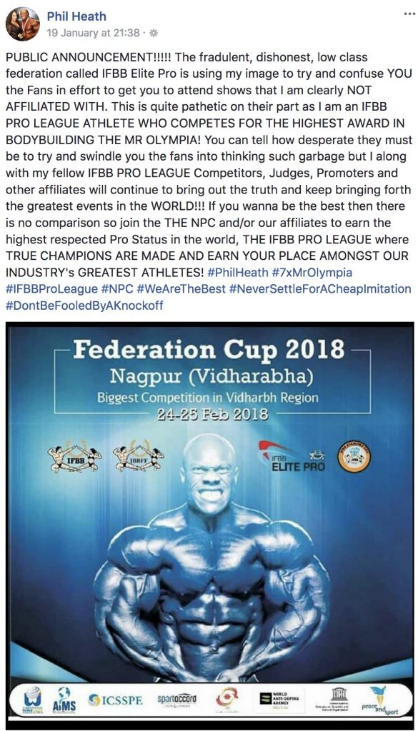 In the past week some controversy erupted over a poster released in India related to a bodybuilding competition. A poster was designed in India using the photo of Phil Heath to promote the show