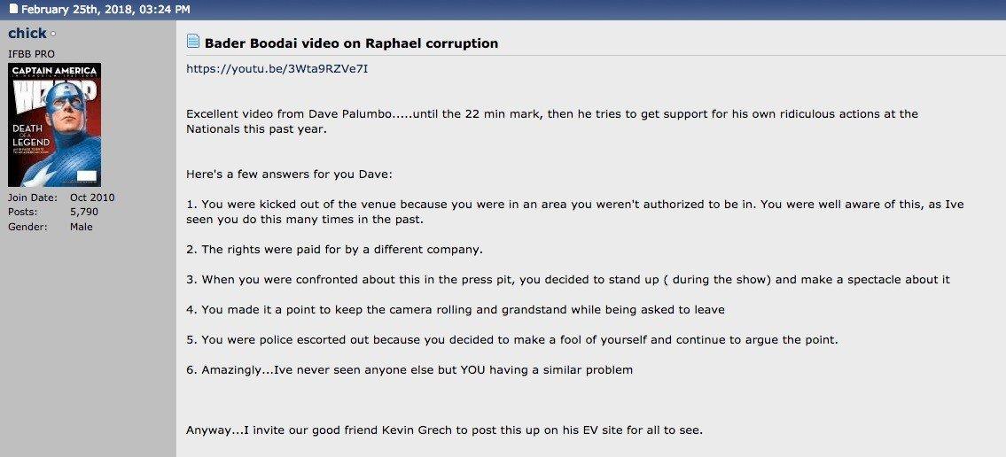 Dave Palumbo responds