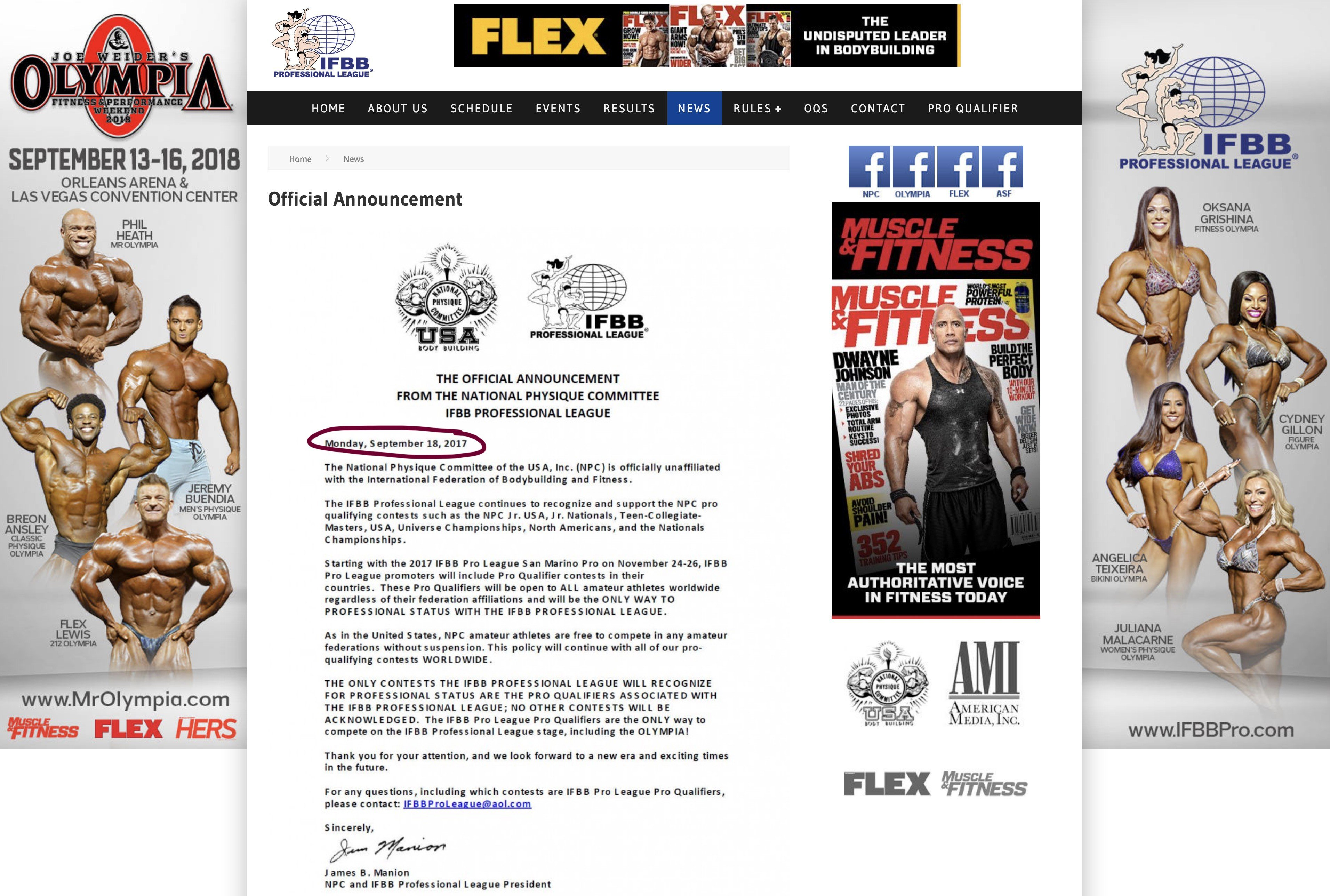 TRUTH: IFBB suspended