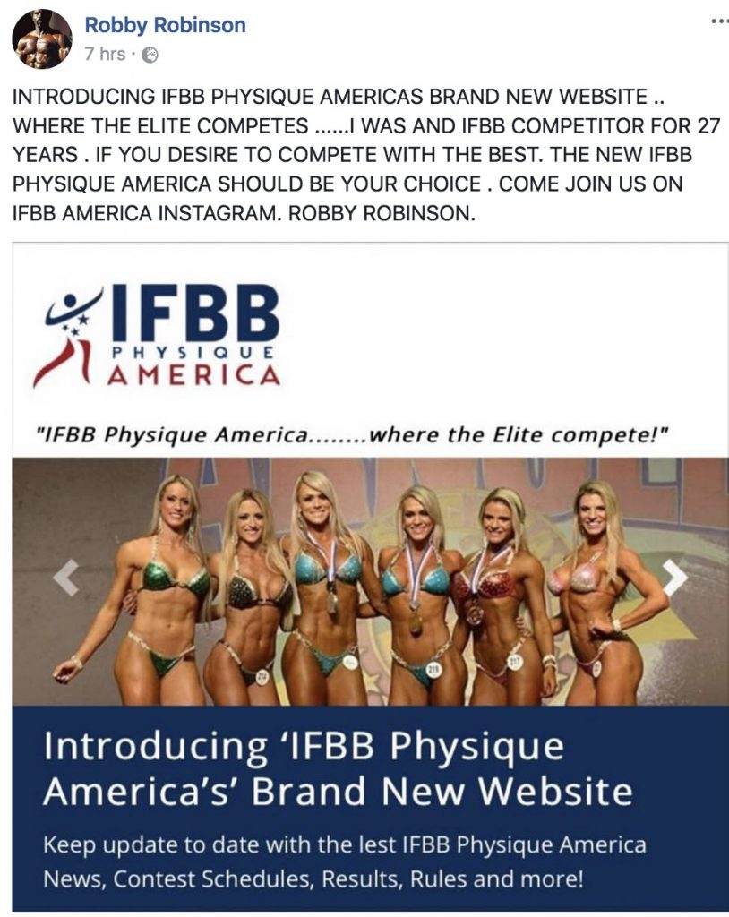 Robby Robinson endorses IFBB Physique America
