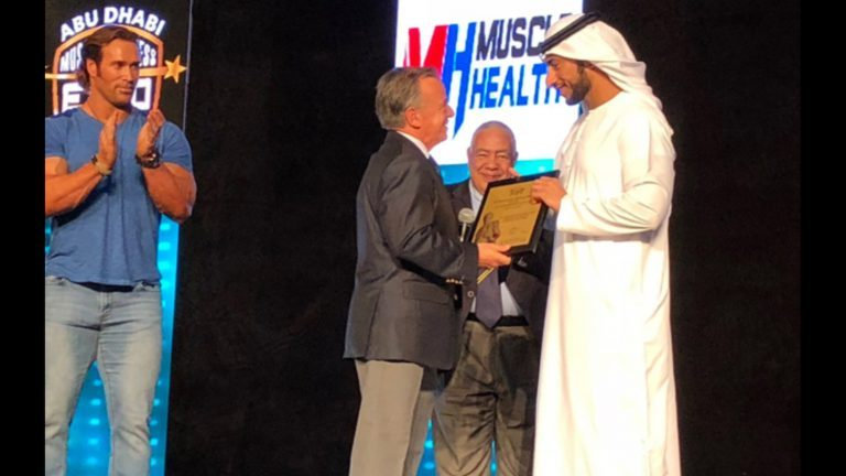 IFBB President Rafael Santonja attends the 2018 IFBB Abu Dhabi International Grand Prix