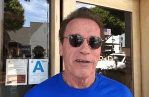 Arnold Schwarzenegger looking