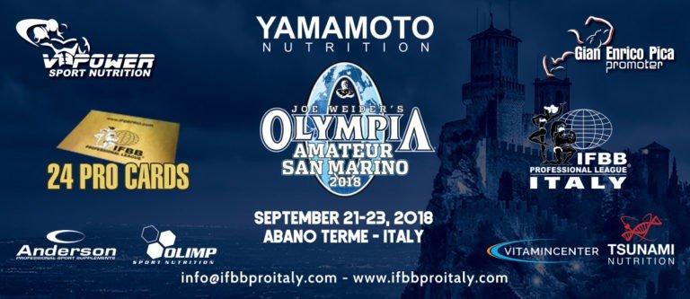 RESULTS: 2018 Amateur Olympia San Marino