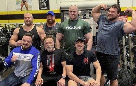 Arnold Schwarzenegger and son Joseph Baena at the Arnold Pro Strongman World Series