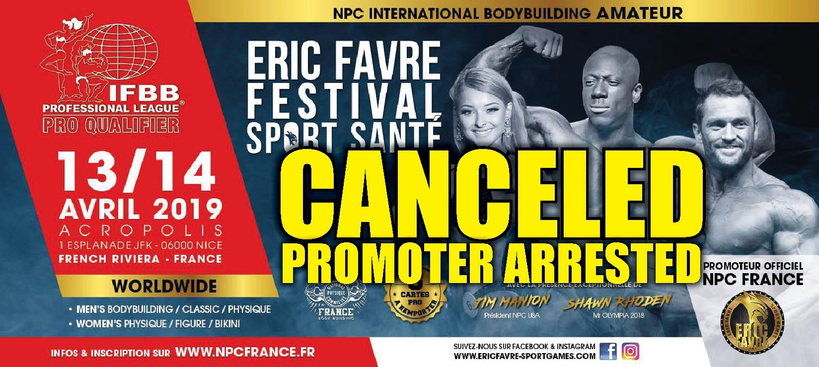 IFBB Pro Qualifier cancelled