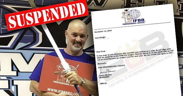 IFBB Pro League/NPC judge Paul Knight suspended by Jim Manion