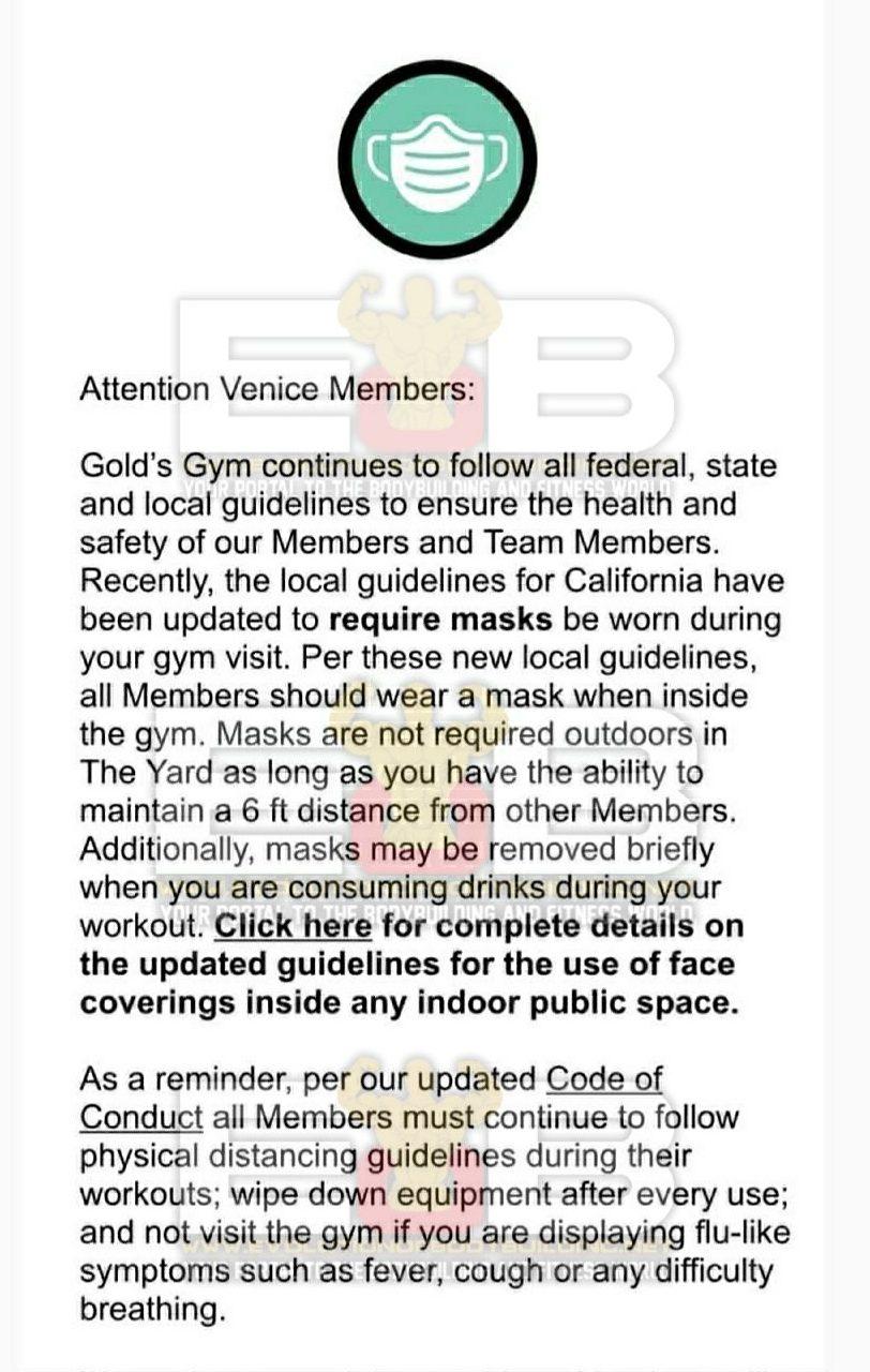 Face masks Gold's gym