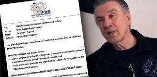 Jim Manion's message IFBB